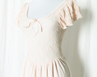 Vintage 70s Sheer Lace Nightgown Peach Ruffled Sleeve XS S Lingerie