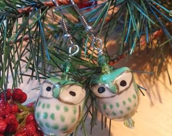 Green glass owl earrings