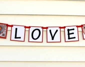 Vintage Sweethearts LOVE Valentine Wedding Banner Bunting
