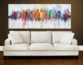 "Painting 72"" Abstract  Painting , oil painting, red blue, yellow , blue, brown, turquoise  ,   Wall Art  jolina anthony"