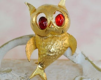 Vintage Owl Brooch with Red Stone Eyes by Pell