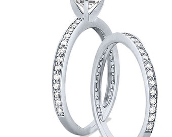 1 carat 6.5mm Round Forever Brilliant Moissanite Solid 14K White Gold 4 Prong  Engagement  Ring set - ENS4111