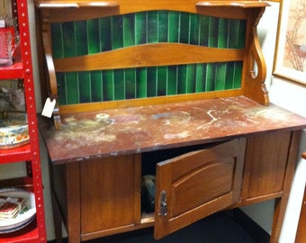 English Edwardian Wash Stand Asian inspired Buffet Server Stand Marble top Gorgeous Green Tile Backsplash