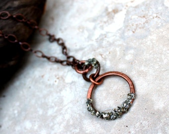 Crushed Pyrite Copper Circle Necklace, Pyrite Gemstones, Fools Gold