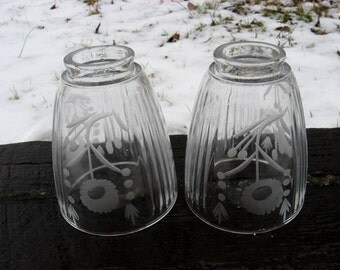 Two heavy, etched crystal glass shades
