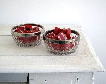 Crystal Cut Glass Bowl - Silver Rim Bowls - Matching Jewelry Holders