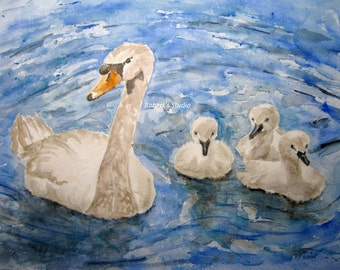 Swans,  Print of Original Watercolor Landscape Painting, wildlife painting, swan painting, swan watercolor, bird painting, watercolor art.