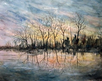 Winter Pond Original painting, watercolor landscape, 12x16, winter landscape, landscape painting, winter scenic painting, woodland painting