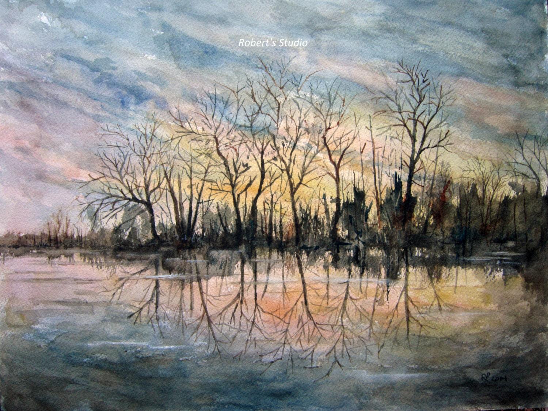 Winter Pond Original Painting Watercolor Landscape 12x16