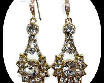 Art Deco Wedding Earrings, Gold Bridal Earrings, Geometric Earrings, Swarovski Crystal Bridal Jewelry, Bridesmaid Gift for Her, RAYS