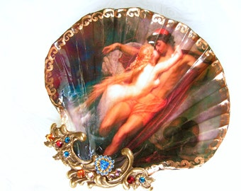 Mermaid And Her Mortal Lover Large Shell Jewelry Dish