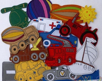 Vehicles (small package - 15 pieces) - felt toy with magnetic layer on the back