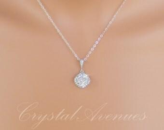 Crystal Bridal Necklace, Cushion Cut Crystal Pendant, Blue Bridesmaids Jewelry Set, Wedding Jewellery, Molly Bridal Jewelry SET