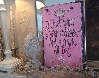 Pink, glamorous sign 8x12 oringinal hand painted by me slate