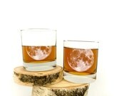 Full Moon Whiskey Glasses - Set of Two Small Tumblers