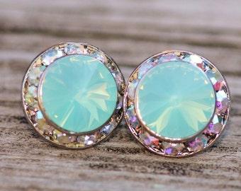 Pacific Opal & Crystal AB Rhinestone Rondelle Post,Swarovski Rhinestone Post Earrings,Pacific Mint Blue Opal,Northern Lights,Pastel Rainbow