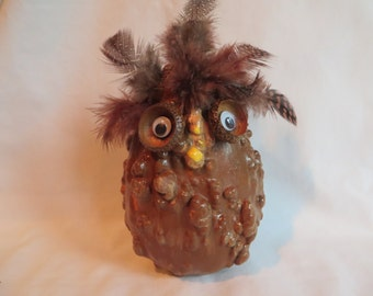 """6"""" Gourd Owl with Feathers"""