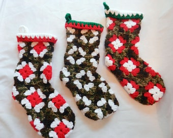 Christmas Stocking ONE Camo Custom Red Green Granny Square Crochet Stockings