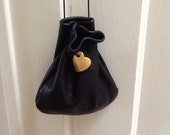 Leather Drawstring Pouch - Gold Leather Heart - Gold Heart - Women's Gifts - Sack Bag - Little Black bag