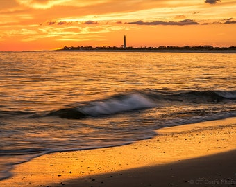 Ocean Lighthouse Sunset, Seascape Photography, Cape May, Orange and Black, Beach, Waves, Cottage Wall Decor