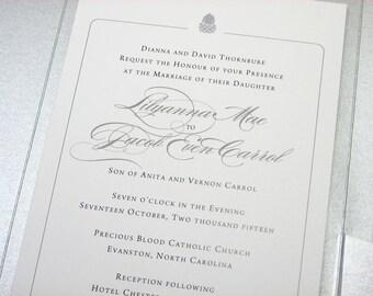 Elegant Fall Wedding Invitation Acorn Invite Silver Pocketfold Autumn Invite Traditional Wedding Custom Wedding