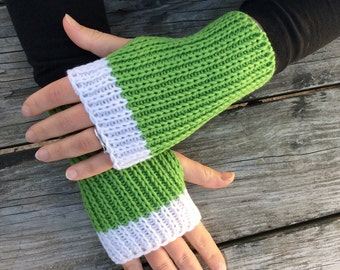 Knit Fingerless gloves, Hand Warmers, Texting Gloves