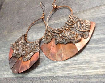 Metal earrings, wire wrapped earrings, copper earrings, rustic earrings, silver earrings, artisan earrings, dangle earrings, drop earrings