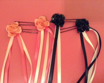Origami Roses Wire Hairpin with Ribbons - 1 Pair