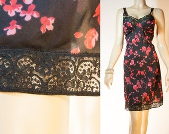 Really feminine silky soft sheer black and red floral design nylon and delightful black lace detail 60's vintage full slip petticoat - 3809