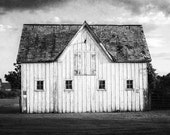 Black and White Barn Landscape, Rustic Black and White Wall Art, Barn Photography, Barn Art, Country Decor, Farmhouse Decor, White Barn.