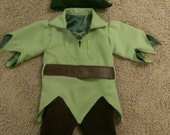 Peter Pan Costume - with Stretch Green Pants