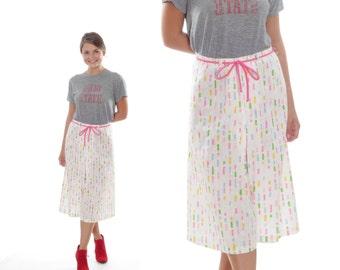 Small Vintage White Pastel Midi Skirt Culottes Skort 4AA