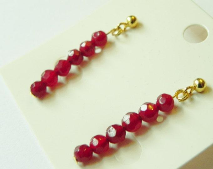 Handmade red jade gemstone gold plated sterling silver earrings, butterfly back