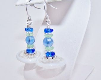 Blue white green glass beaded hanging earrings