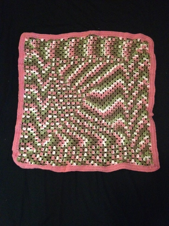 items similar to pink camo baby afghan on etsy