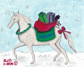 Original Christmas Folk Art Horse Lover Painting Holiday Merry Christmas Outsider Art Cottage Chic Chabby Chic One of a kind Artwork Santa