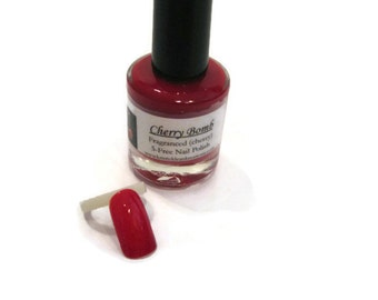 Cherry Bomb Fragranced 5-Free Nail Polish (Cherry fragranced), 5 free nail polish, fragranced nail polish, gift idea, nails