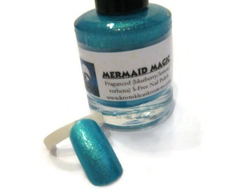 Mermaid Magic Fragranced 5 Free Nail Polish, Blueberry/lemon/verbena, fragranced nails, 5 free nail polish, gift idea