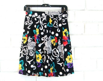 90s BRIGHT PLEATED MINI vintage skater skirt high waist paisley floral black white dots s M