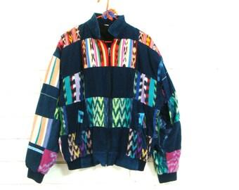 90's IKAT BOMBER JACKET vintage patchwork ethnic South American zip up coat unisex men's M