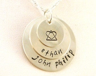 Adoption Necklace - Sterling Silver Mothers Necklace - Adoption Symbol Stacking Pendant