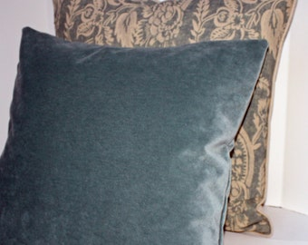 "Banks/Aqua - 1 Decorative Pillow Cover - 12 x 16"" - Designer Fabric - Blue Velvet - Velvet Pillow"
