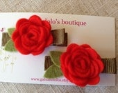 Felt Rose Hair Clips - Red Orange on Brown - Pure Wool Felt, Handmade - Set of 2 - Rosettes, Rosebud Clips