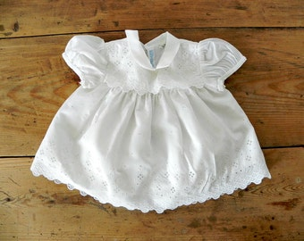French Vintage White Baby Dress with lace overlay