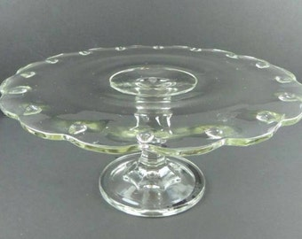 Vintage Glass Scallop Edged Pedestal Cake Plate Dessert Display