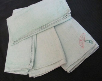 "Set of 4 Vintage Solid Green Linen Dish Kitchen Towels 24"" Square"