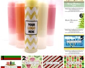 100 Count Holiday Lip Balms and Labels - Great Party Favor & Promotional Item - Christmas - Hannukah - Kwanzaa - Party Gift - Christmas Card