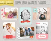INSTANT DOWNLOAD - Happy HUGS Valentine wallet Templates for professional Photographers