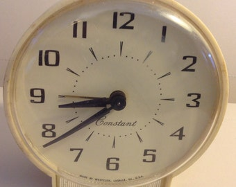 Alarm Clock Vintage Minimalistic Mechanical Westclox in Antique White