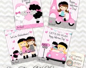 Paris Valentine cards for girls * Kids Valentines Day cards * DIY printable valentines * Pink Poodle Valentines, personalization extra